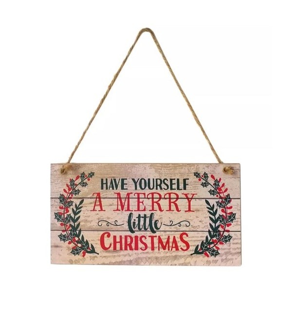 Natural Wood Merry Christmas Sign 1