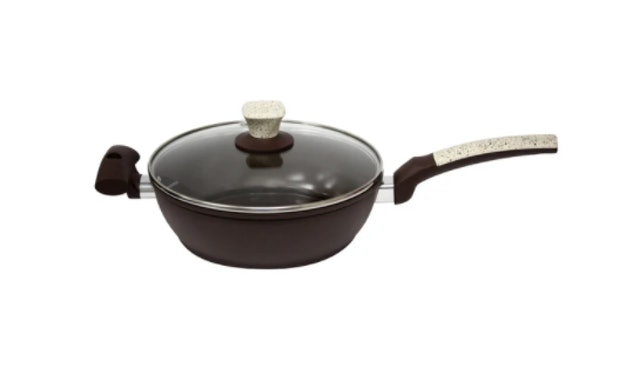 Omega Houseware Ceramic Coated Deep Fry Pan with Lid 1