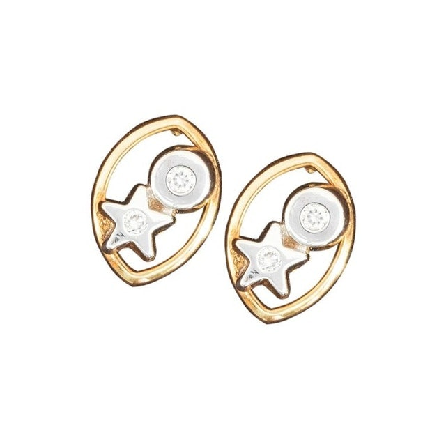 Aguilar de Dios Circle and Star Baby Earrings 1