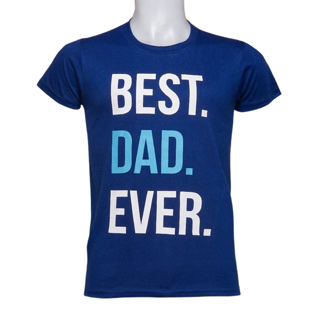 Inspi  Best Dad Ever Graphic T-Shirt in Royal Blue 1