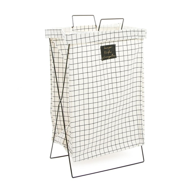 SM Home Checkered Laundry Bag with Metal Frame 1