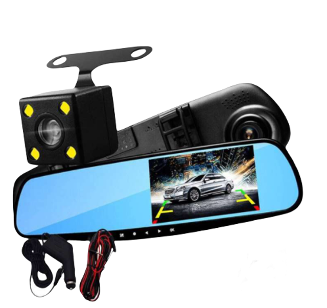 Vinovo Full HD 1080P Car Video Camera with Dual Lens for Vehicles Front & Rearview Mirror Car DVR 1