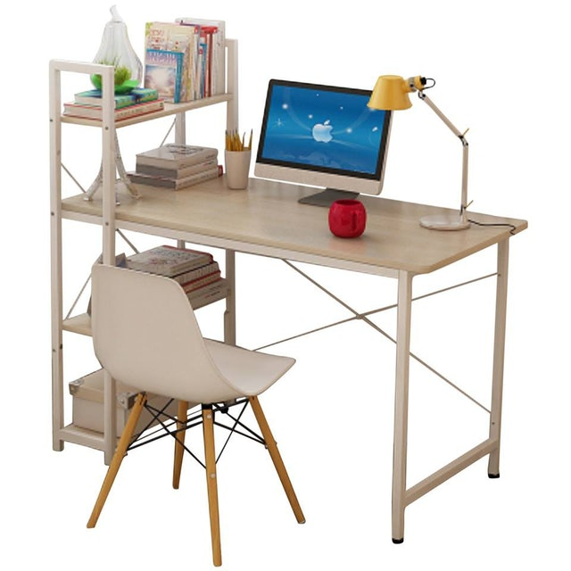 Primetime Scandinavian Table with 4-Tier Bookshelf 1