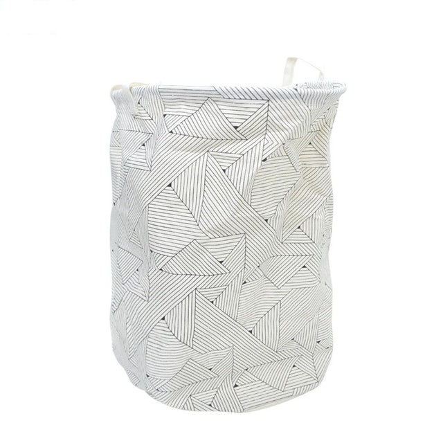 Robinsons Department Store Cream and Black Geometric Printed Round Collapsible Canvas Hamper  1