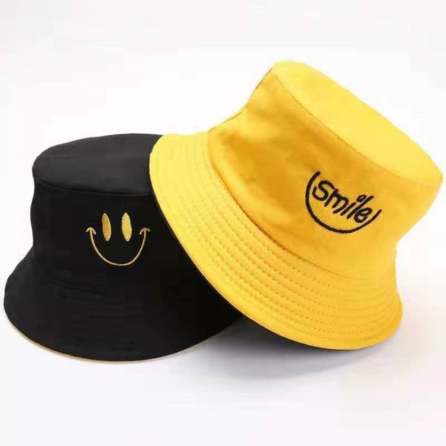 Chh.shop Smile Face Embroidery Bucket Hat 1